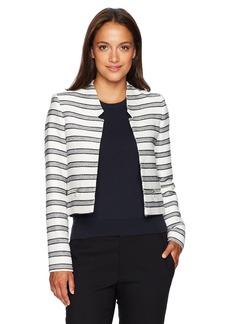 Calvin Klein Women's Petite Size Boucle Stripe Open Jacket White/Navy 2P
