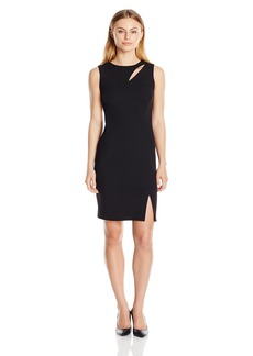 Calvin Klein Women's Petite Sleeveless Round Sheath with Neck Cut Out and Side Slit  12P
