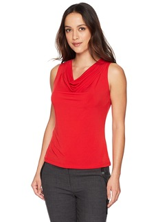 Calvin Klein Women's Petite Solid Drape Neck Cami red
