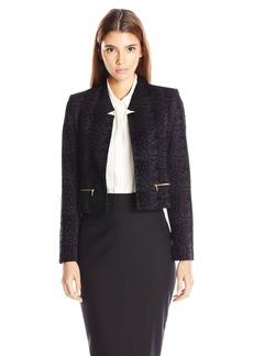 Calvin Klein Women's Petite Velvet Open Jacket W/ Zippers  12P