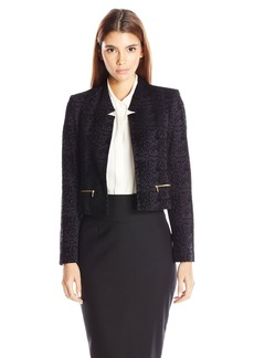 Calvin Klein Women's Petite Velvet Open Jacket W/ Zippers  4P