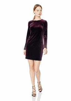 Calvin Klein Women's Petite Velvet Sheath with Embellished Long Sleeve  0P