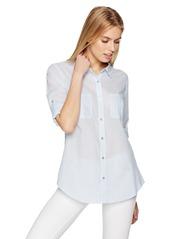 Calvin Klein Women's Pinstripe Roll Sleeve Top  M