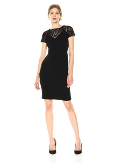 Calvin Klein Women's Pintuck Dress with Illusion