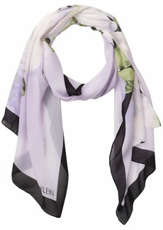Calvin Klein Women's Placed Floral Poly Chiffon Oblong Scarf OPAL