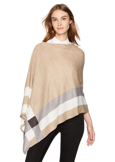 Calvin Klein Women's Plaid Asymmetrical Poncho Accessory -heathered almond one size
