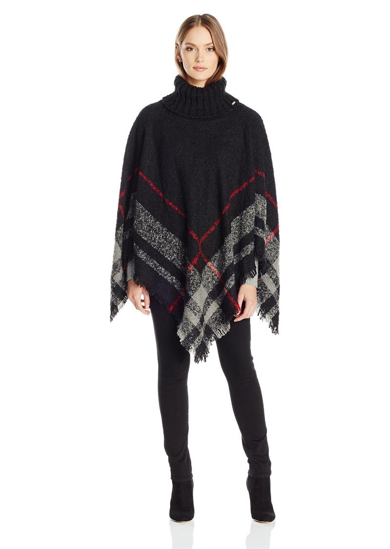 Calvin Klein Women's Plaid Boucle Poncho with Turtleneck