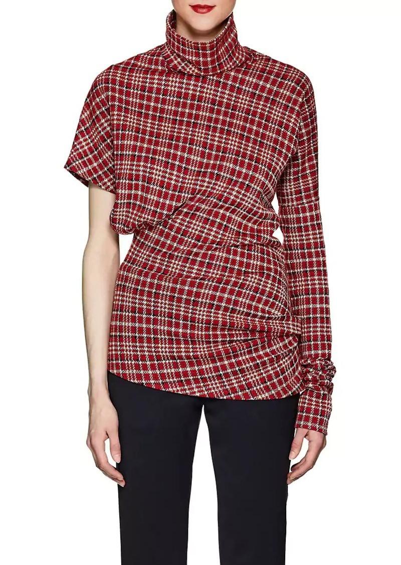CALVIN KLEIN 205W39NYC Women's Plaid Cotton-Blend Jacquard Asymmetric Top