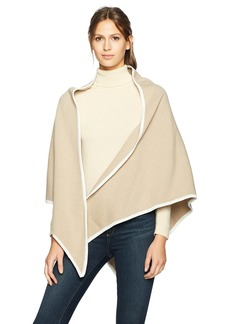 Calvin Klein Women's Plaid Knit Triangle Wrap Accessory -cream