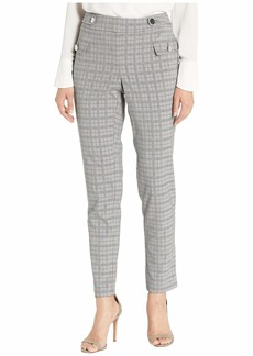 Calvin Klein Women's Plaid Straight Leg Pant with Buttons Light Grey Glen