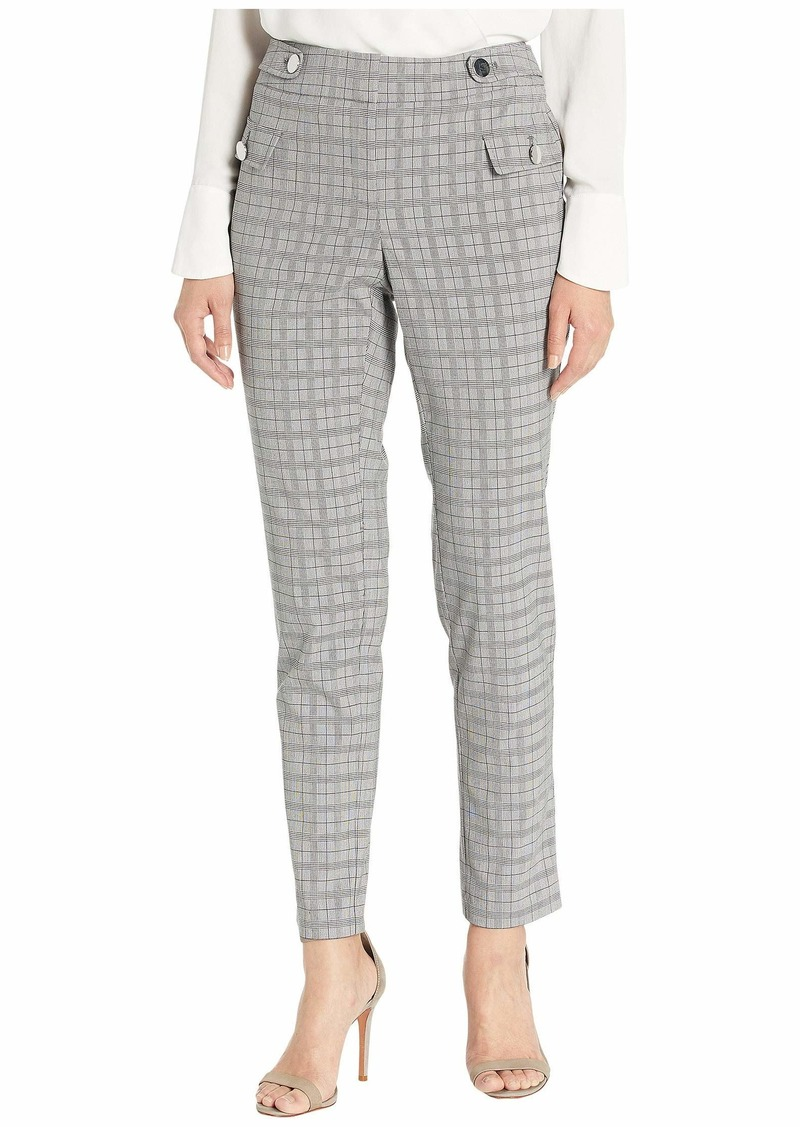 Calvin Klein Women's Plaid Straight Leg Pant with Buttons Light Grey Glen