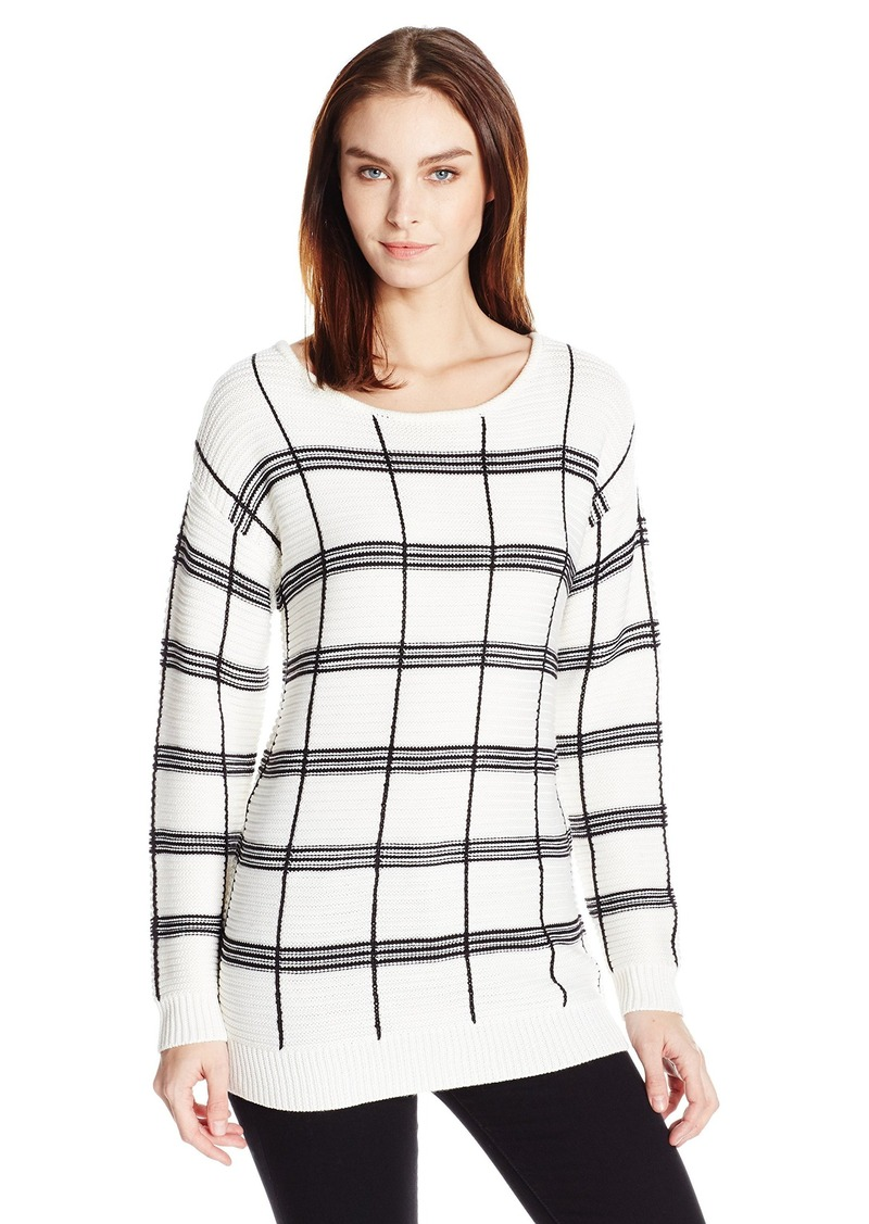 Calvin Klein Women's Plaid Stripe Boatneck Sweater  S