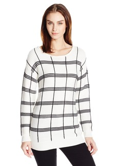 Calvin Klein Women's Plaid Stripe Boatneck Sweater  XL