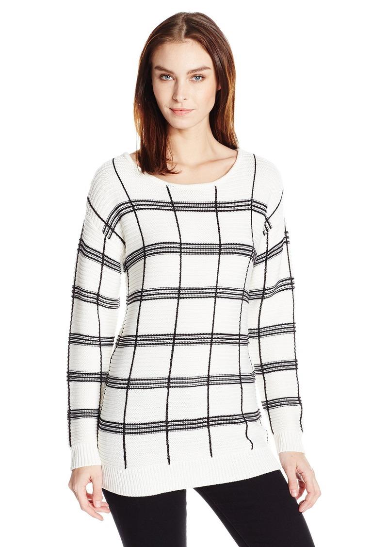 Calvin Klein Women's Plaid Stripe Boatneck Sweater  XL