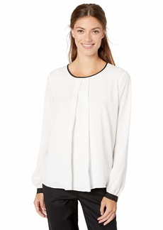 Calvin Klein Women's Pleat Front Long Sleeve Piped Top  S