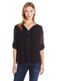 Calvin Klein Women's Pleated Chiffon Top  Medium