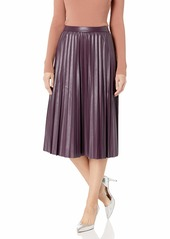 Calvin Klein Women's Pleated Faux Leather Skirt aubergine