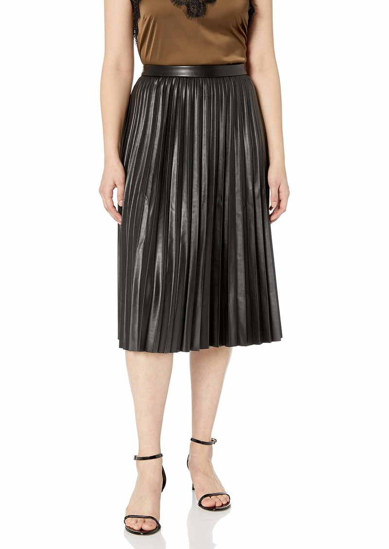 Calvin Klein Women's Pleated Faux Leather Skirt black