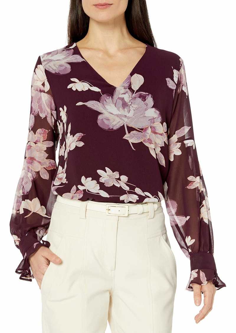 Calvin Klein Women's Pleated Sleeve Blouse aubergine multi M