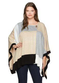 Calvin Klein Women's Plus Color Block Poncho Sweater HTR Latte/Blk