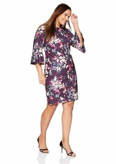 Calvin Klein Women's Plus-Size 3/4 Peplum Sleeve Sheath Dress