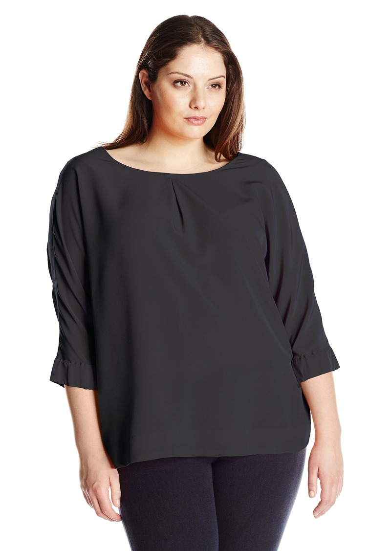 Calvin Klein Women's Plus Size 3/4 Sleeve Crew Neck Blouse