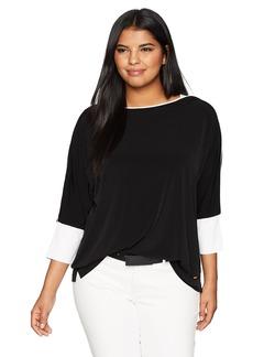 Calvin Klein Women's Plus Size 3/4 Sleeve Dolman With Trim