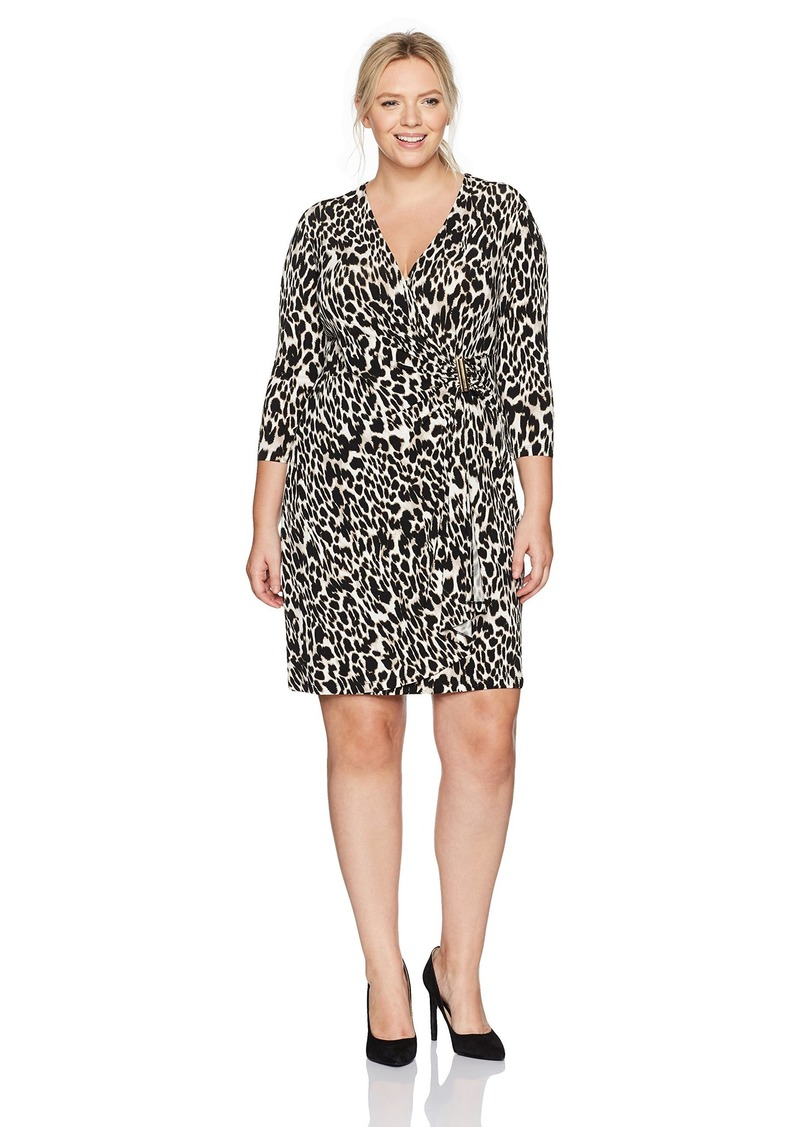 Calvin Klein Women's Plus Size 3/4 Sleeve Faux Wrap Dress