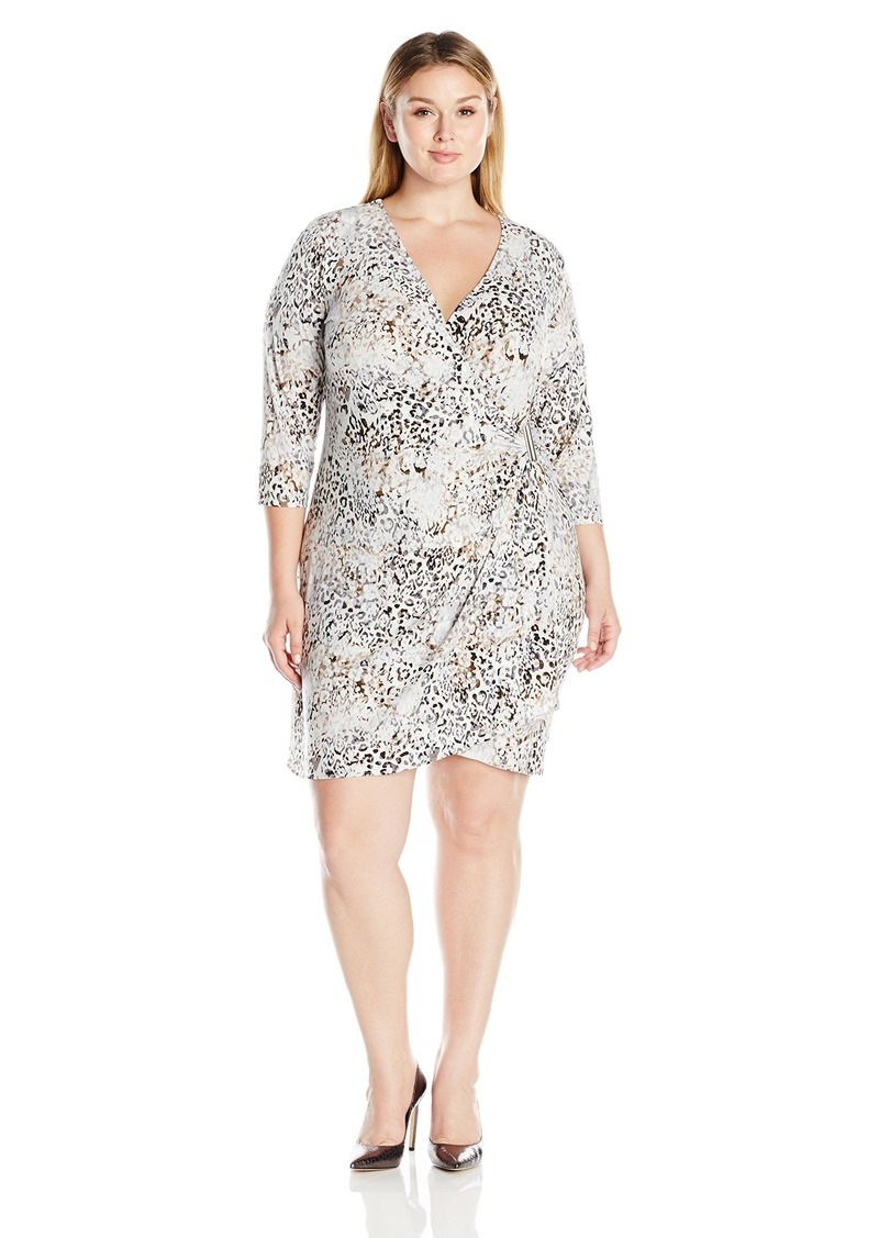 Calvin Klein Women's Plus Size Three Quarter Sleeve Wrap Dress with Hardware Tin/Blk CKSP 0X