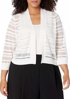 Calvin Klein Women's Plus Size 3/4 Sleeve Shrug with Sheer Stripes