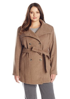 Calvin Klein Women's Plus Size Basketweave Wool Double Breasted Coat