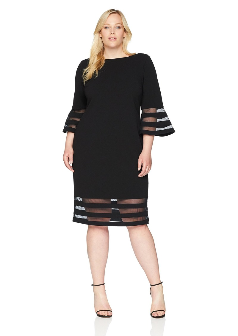 Women\'s Plus Size Bell Sleeve Sheath with Sheer Inserts Dress