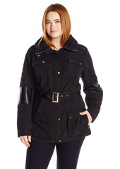 Calvin Klein Women's Plus Size Belted Quilted Jacket
