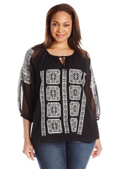 Calvin Klein Women's Plus Size Blouse with Embroidery
