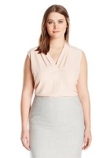 Calvin Klein Women's Plus Size Blouse W/ Inverted Pleat