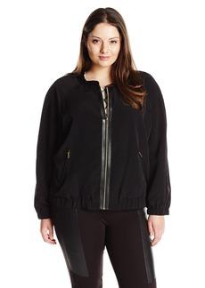 Calvin Klein Women's Plus Size Bomber Jacket with Trim