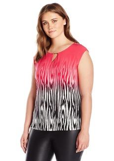 Calvin Klein Women's Plus Size Cap Sleeve Knit W/Bar Hardware