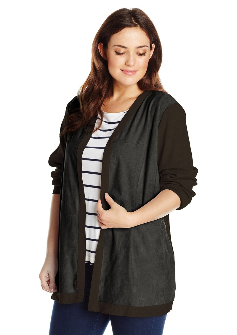 Calvin Klein Women's Plus-Size Cardigan with Suede Front