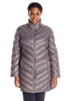 Calvin Klein Women's Plus-Size Chevron-Quilted Packable Down Coat Plus