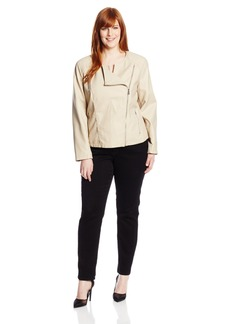 Calvin Klein Women's Plus-Size Collarless Moto Jacket
