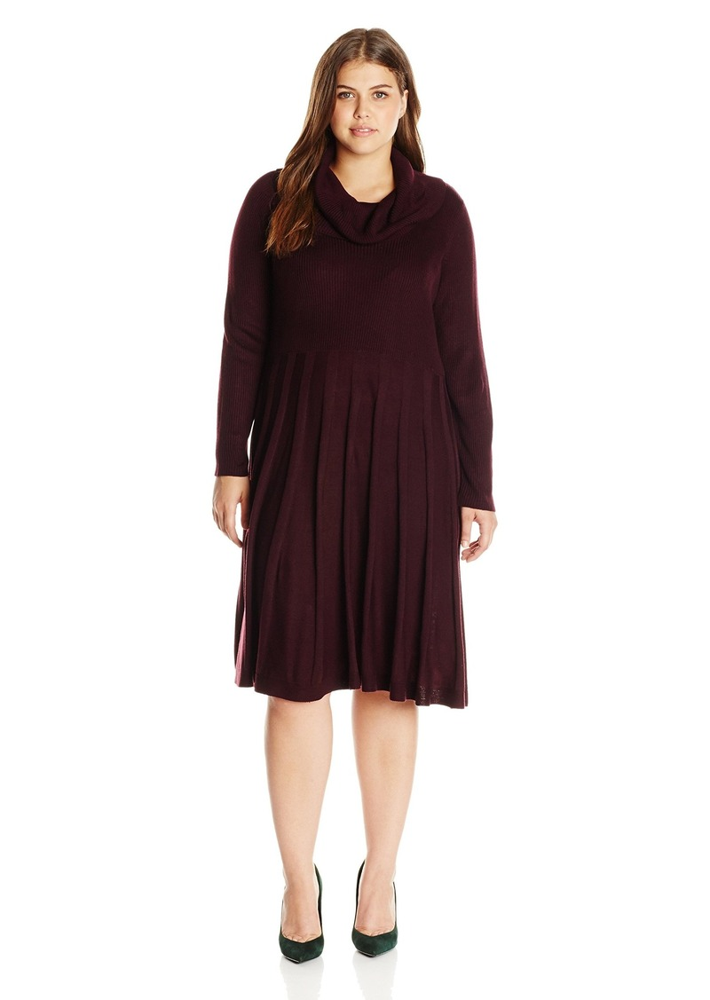 Calvin Klein Women's Plus Size Cowl Neck Fit and Flare Dress With Elbow Patch