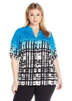 Calvin Klein Women's Plus Size Crew Neck Roll Sleeve Blouse