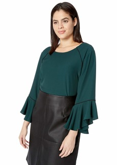 Calvin Klein Women's Plus Size Crew Neck with Flare and Piping