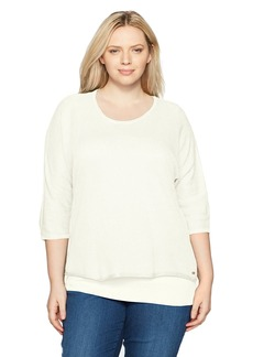 Calvin Klein Women's Plus Size Dolman Sweater with Underpinning