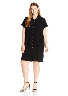 Calvin Klein Women's Plus Size Double Layer Chiffon T-Shirt Dress  2X