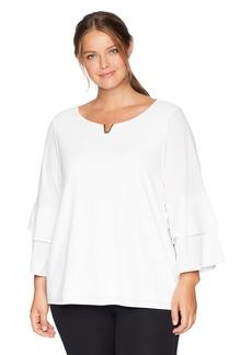 Calvin Klein Women's Plus Size Double Ruffle Blouse with Hardware