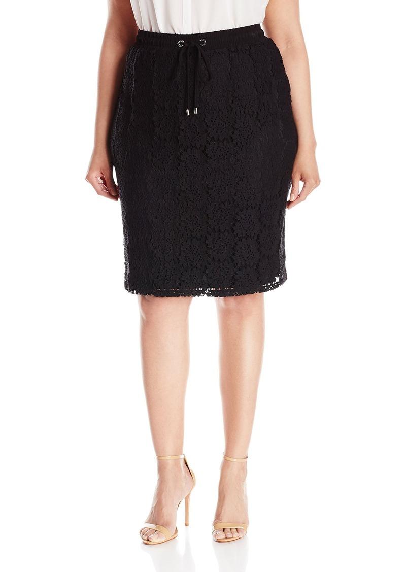 Calvin Klein Women's Plus Size Drawstrng Lace Skirt