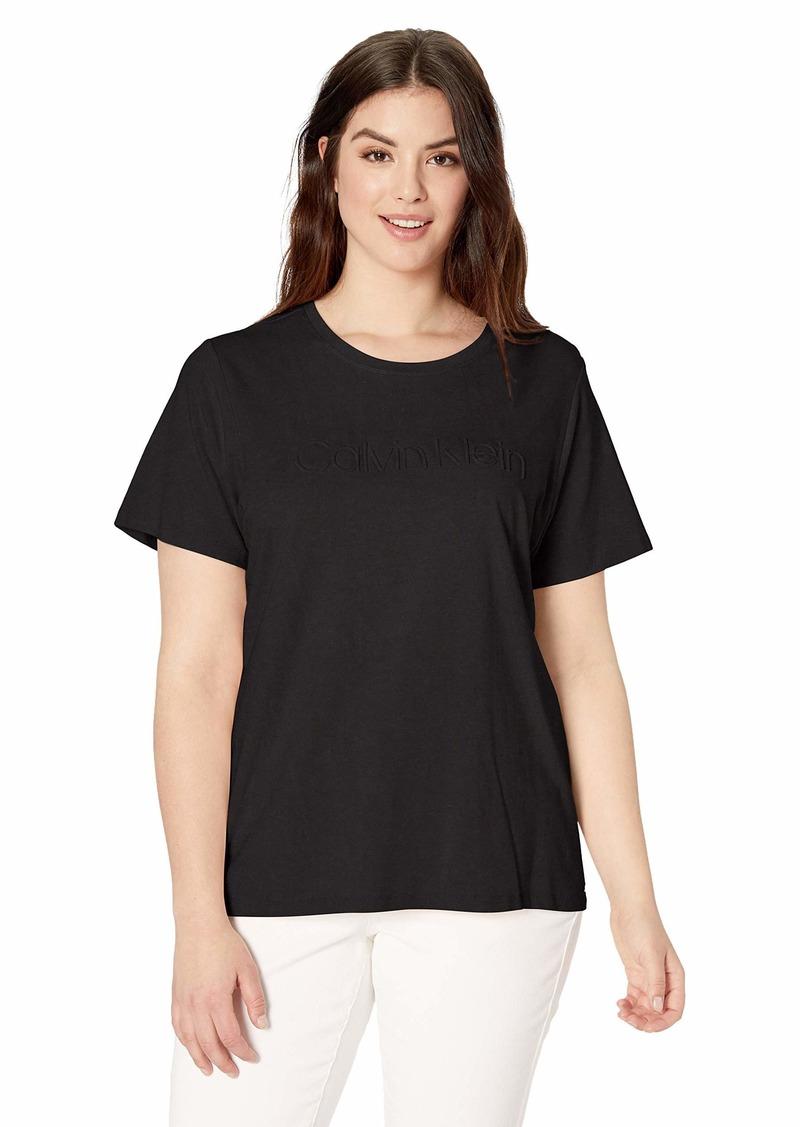 Calvin Klein Women's Plus Size Embossed Logo T-Shirt