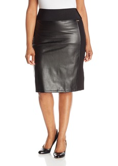 Calvin Klein Women's Plus-Size Essential Power Stretch Pleather Front Skirt