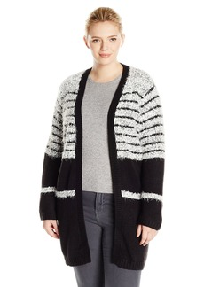 Calvin Klein Women's Plus-Size Eyelash Cardigan with Rib Trim